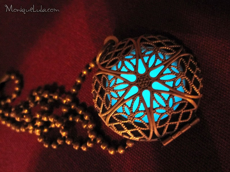 Aqua glow locket antique brass