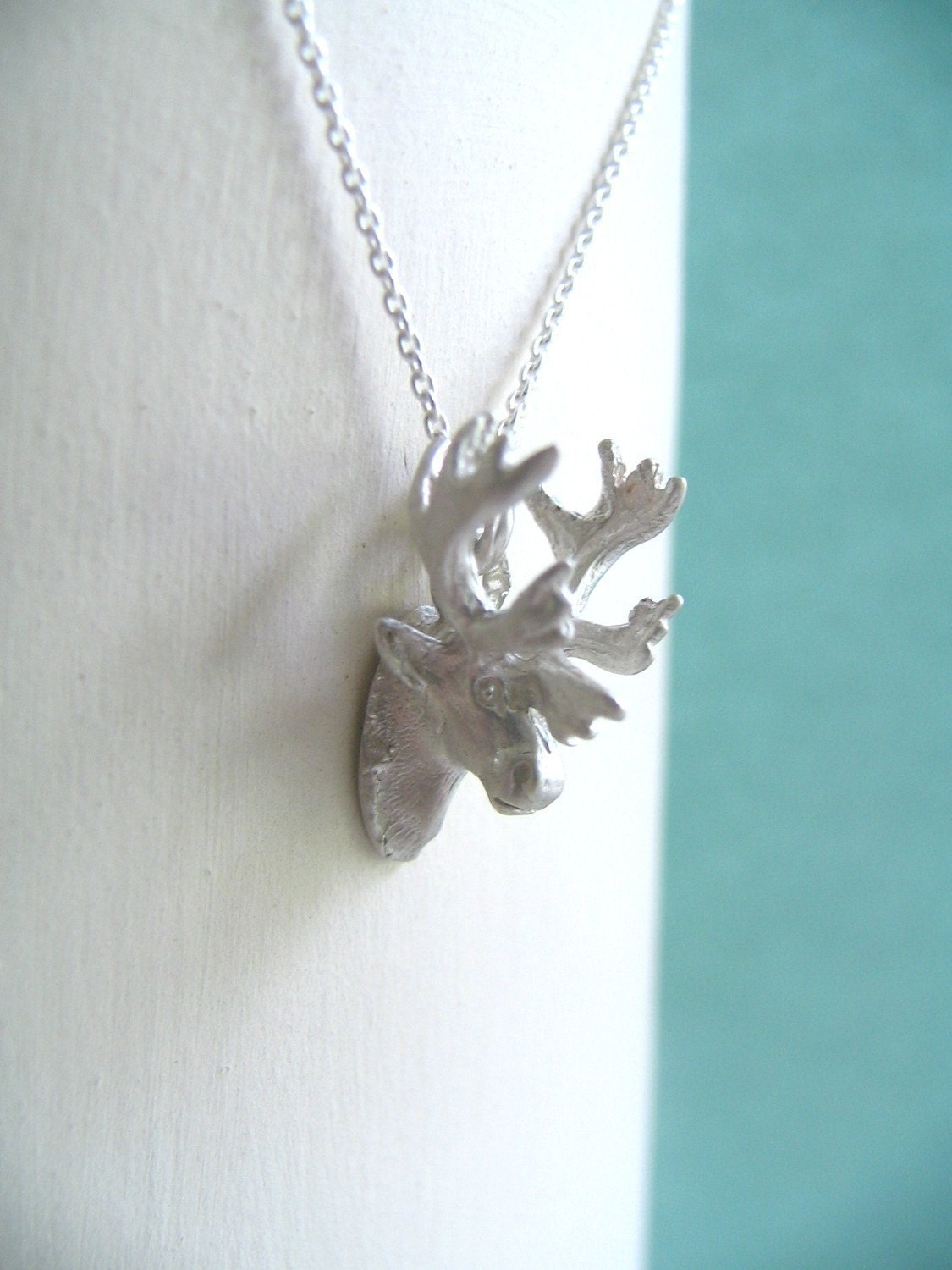 Sterling Silver Trophy Moose Necklace