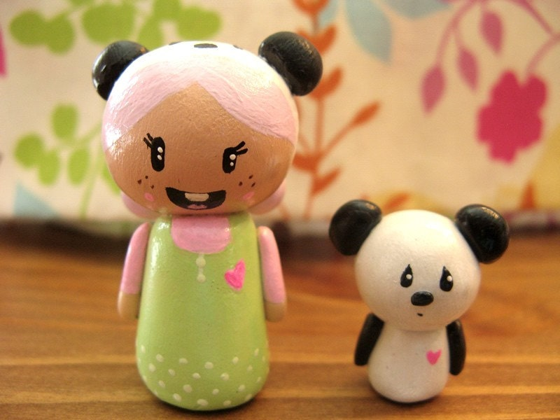 SALE- Kawaii  Panda Hat Girl and Panda Friend - Polymer Clay Sculpt
