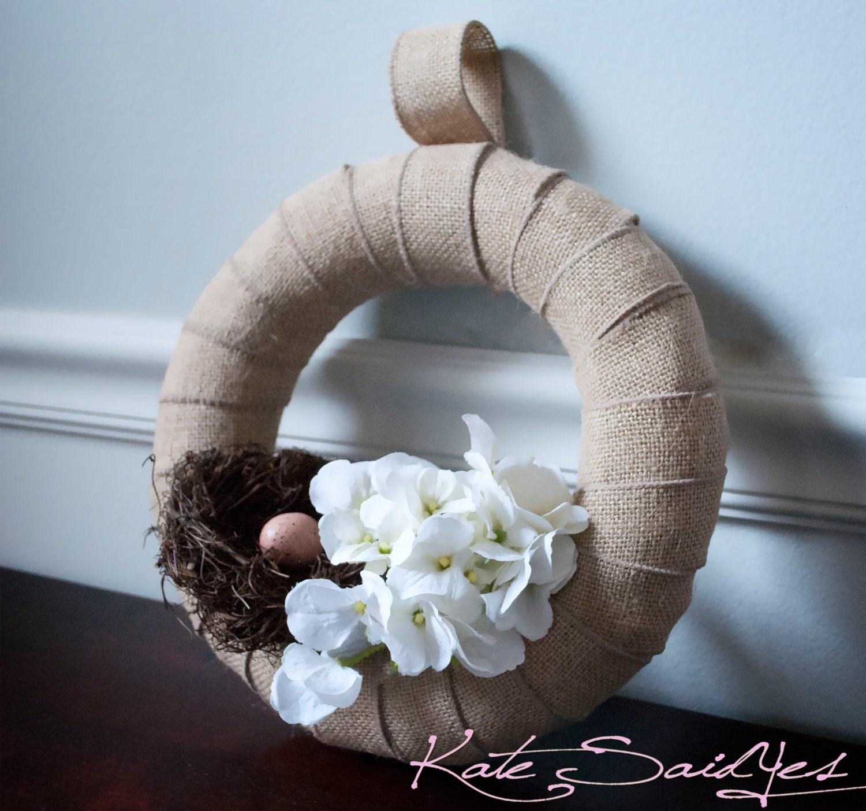 Burlap Wreath Hydrangea and Bird Nest Burlap Wedding Wreath Rustic