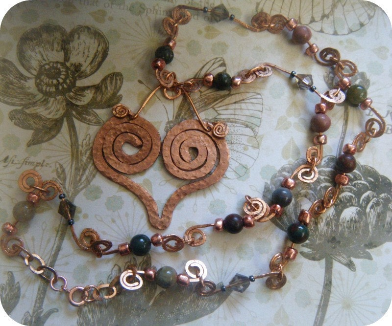 A Groovy Kind of Love - OOAK Hammered Copper Heart Necklace