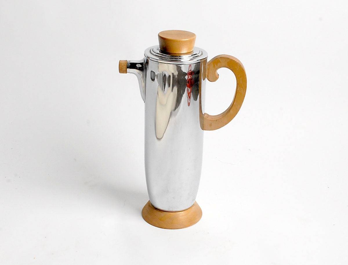 SALE Vintage 20s 30s Silver Chrome and Maple ART DECO Cocktail Carafe Pitcher