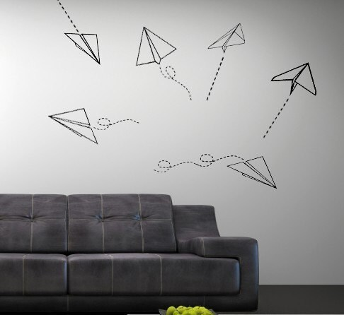 Vinyl Wall Art Decal Paper Airplanes
