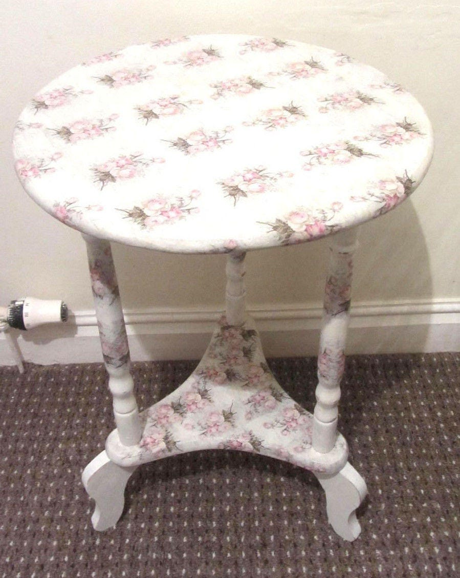 Roses table flowered lamp table rose side table Shabby chic table White jardinere table plant table coffee table decopauge table