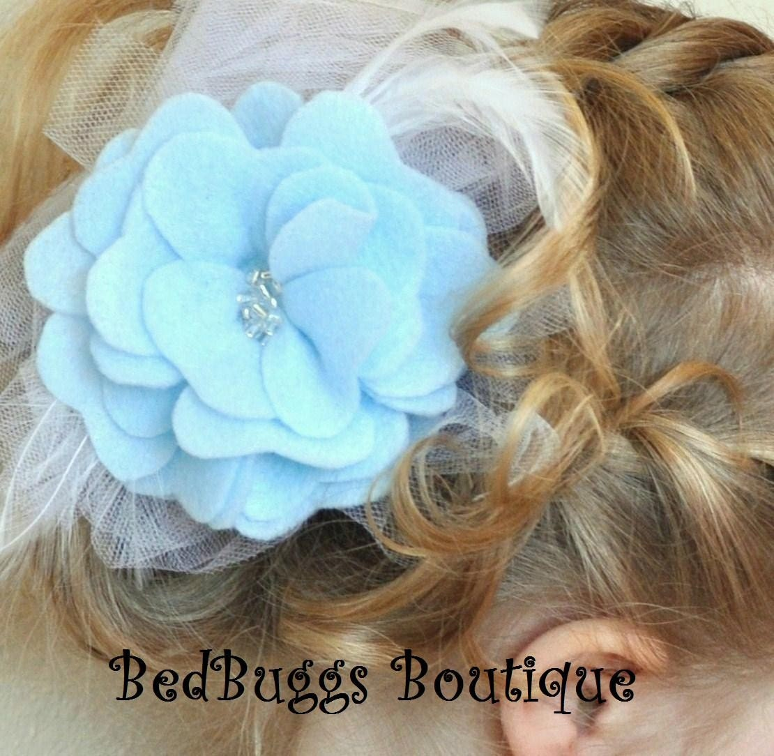 BEAUTIFUL Baby Blue Felt Rose Flower--Tulle and Feather Backing--CAN BE MADE IN ALMOST ANY COLOR-