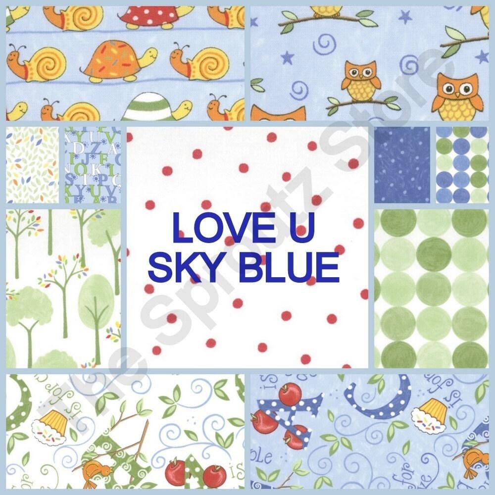 Love U -  FAT QUARTERS - Set of 11 in Sky Blue -  by Deb Strain for Moda Fabrics