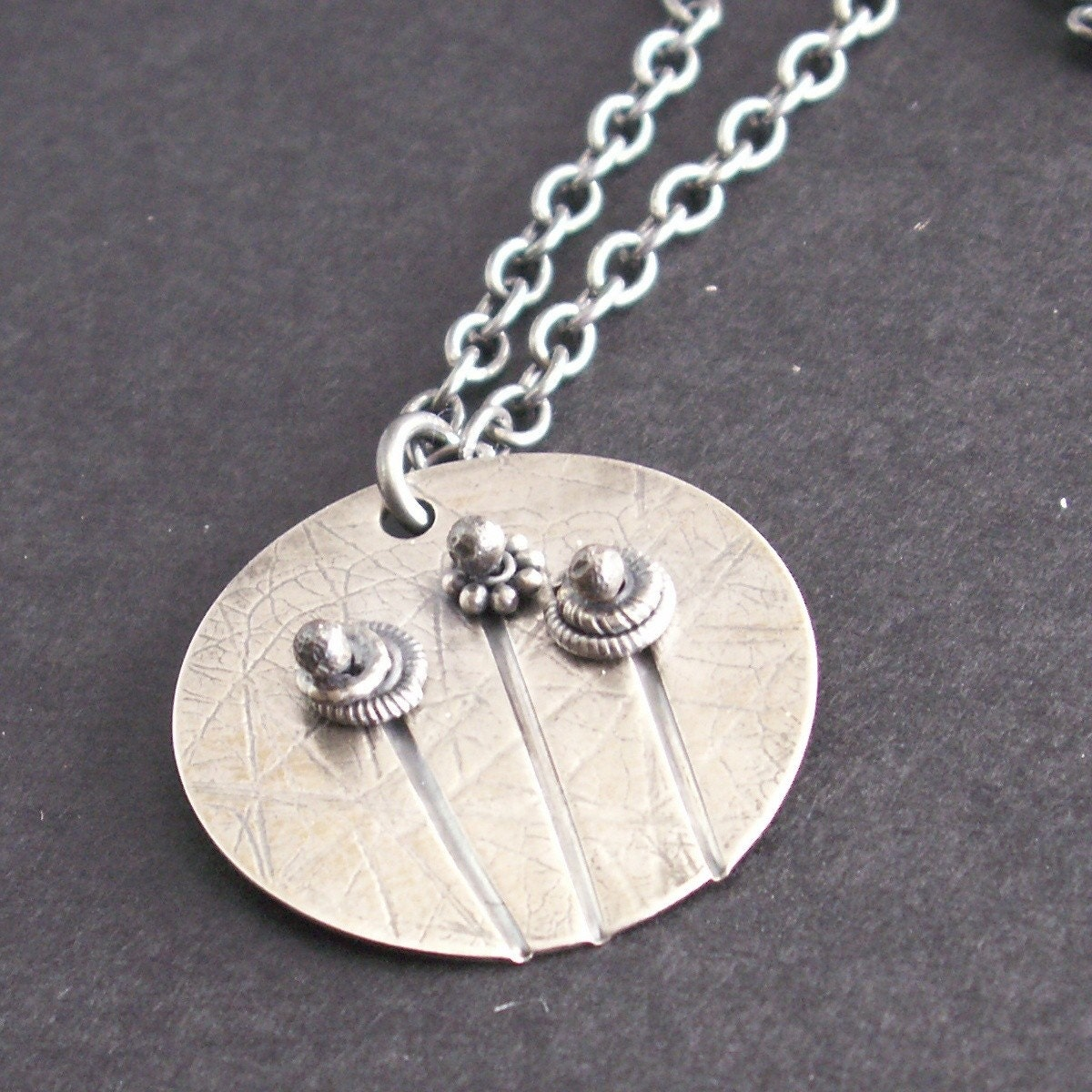 handcrafted jewelry necklace sterling silver flowers poppies