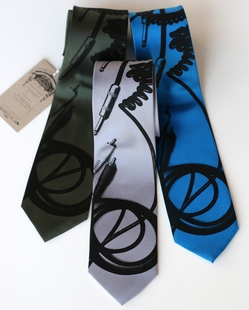 Cable Tie. RCA and quarter inch connectors. NARROW screenprinted microfiber necktie.
