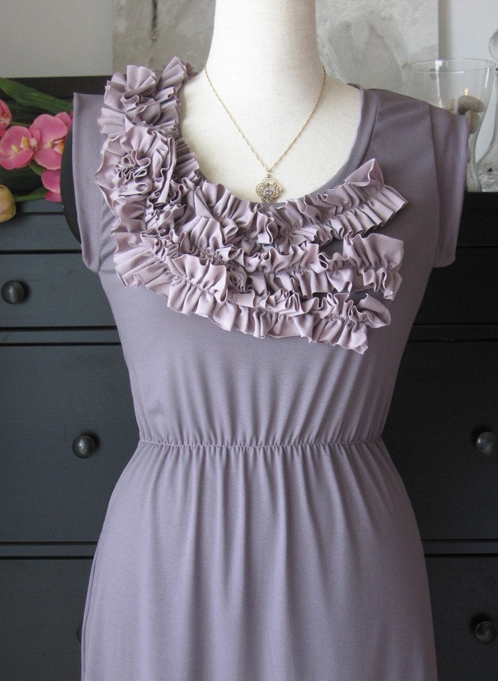 Katharina Flower Tank Dress In Elegant Taupe With Rosy Sand Ruffles