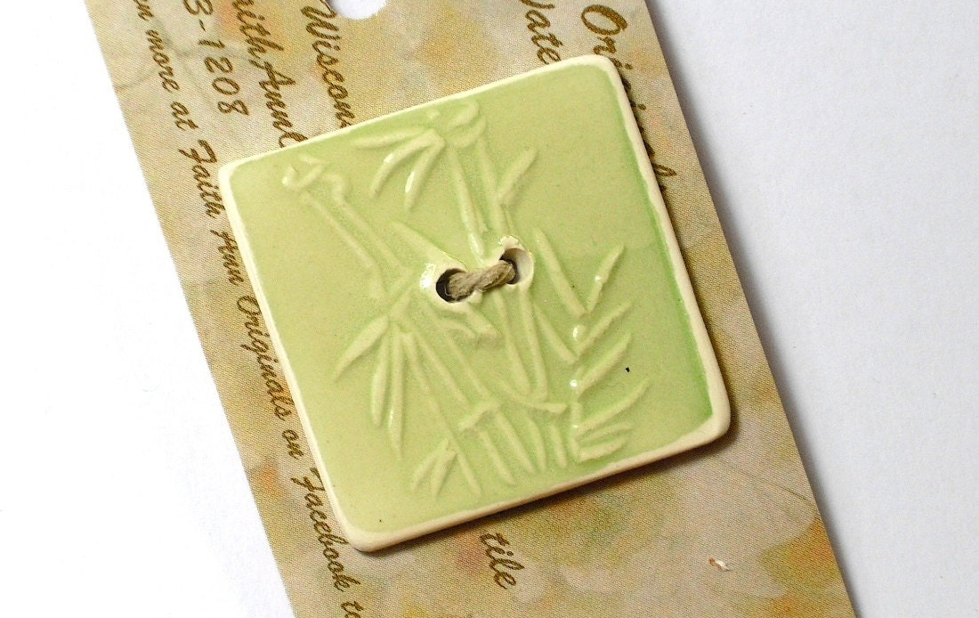 BAMBOO BUTTON handmade ceramic 2 holed square celery green original design by Wisconsin artist - FaithAnnOriginals