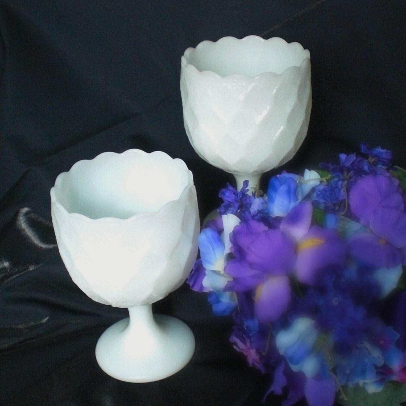 Vintage Milk Glass Wedding Chalice