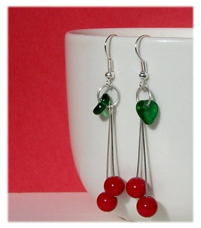 bead, cherry, cute, earring, earrings, fruit, glass, jewelry, kitsch, leaf, pawandclawdesigns, punk, red, retro