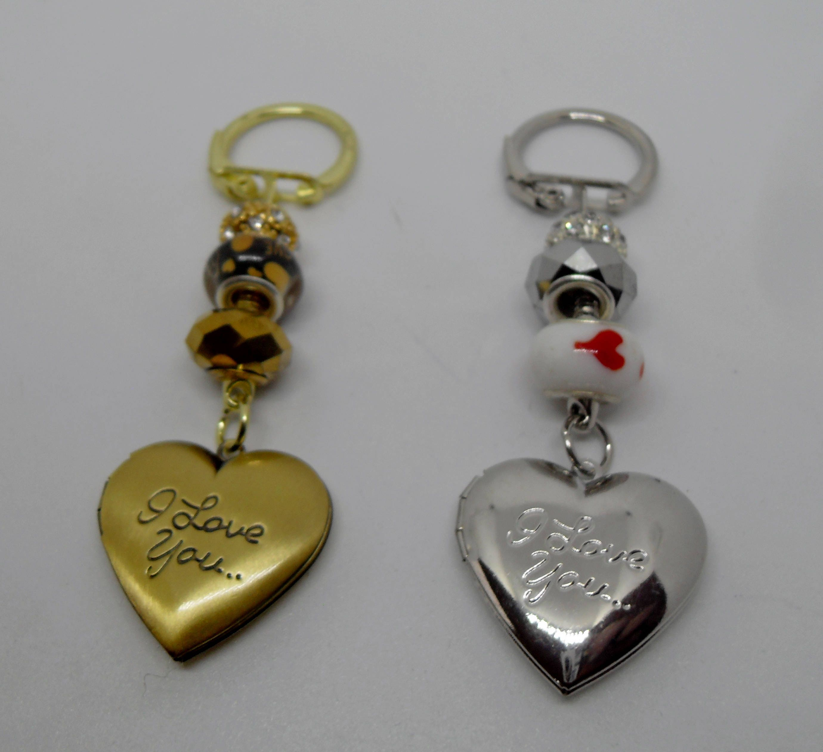 Valentines Day Photo Frame Keyring/Bag Charm with I Love You on the Front