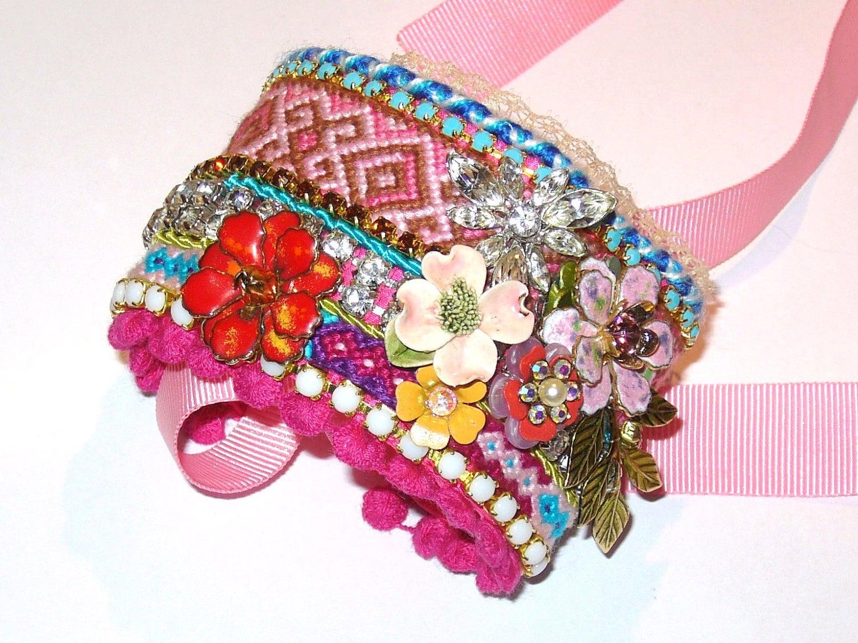 Wide Rhinestone Friendship Bracelet - Flower Affair