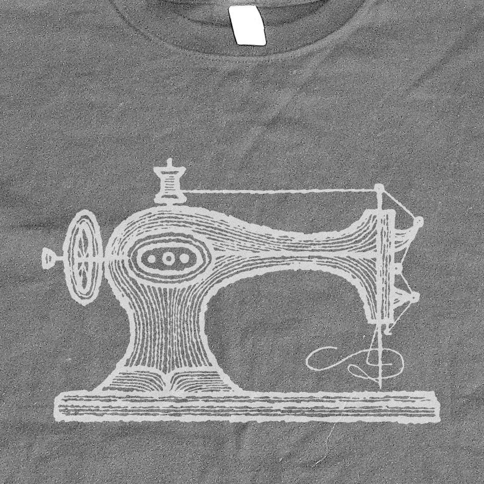 Sewing Machine Tshirt - Organic Cotton Tee for the Ladies. FREE SHIPPING Super hip, super shirty.