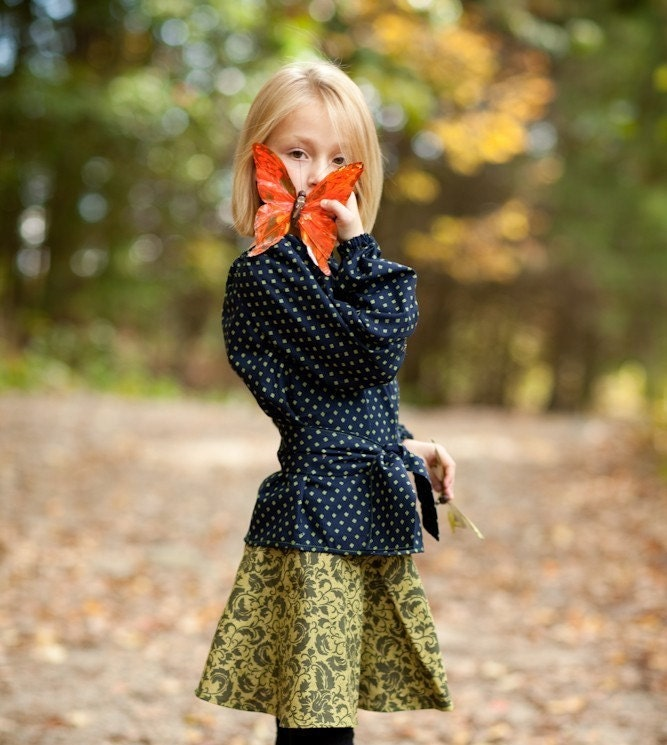 The Sophisticate Set - Peasant blouse and circle skirt in navy and green paisley