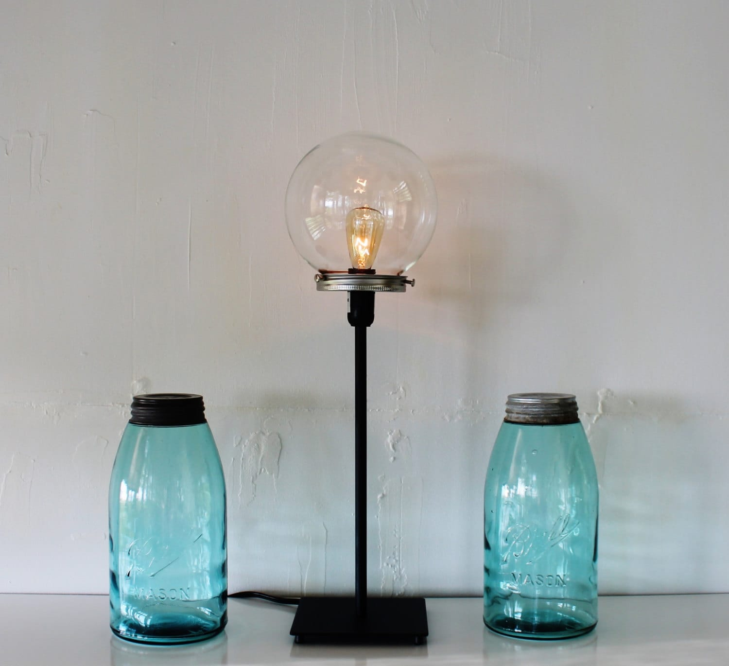 crystal ball table top lamp upcycled lighting fixture featuring a. Black Bedroom Furniture Sets. Home Design Ideas