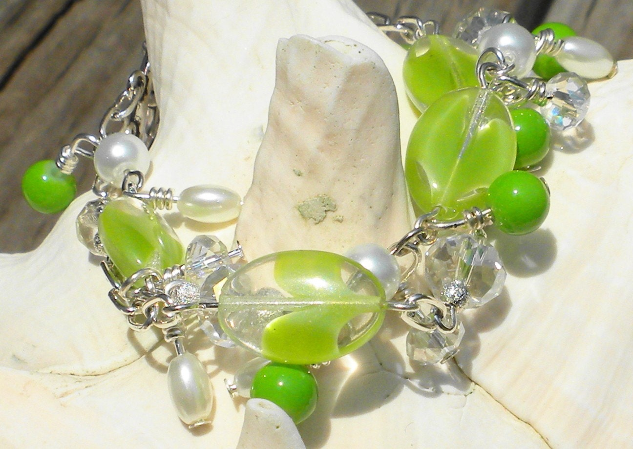 Lime Green and Pearls Bracelet with Crystals and Silver