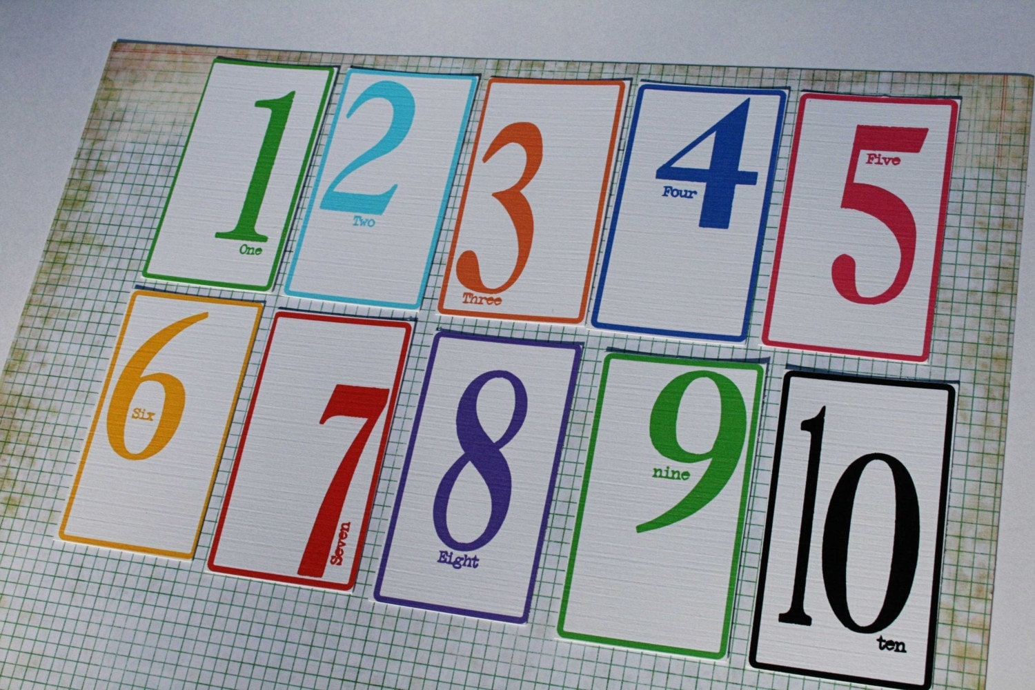 Colorful Number tags 1-10