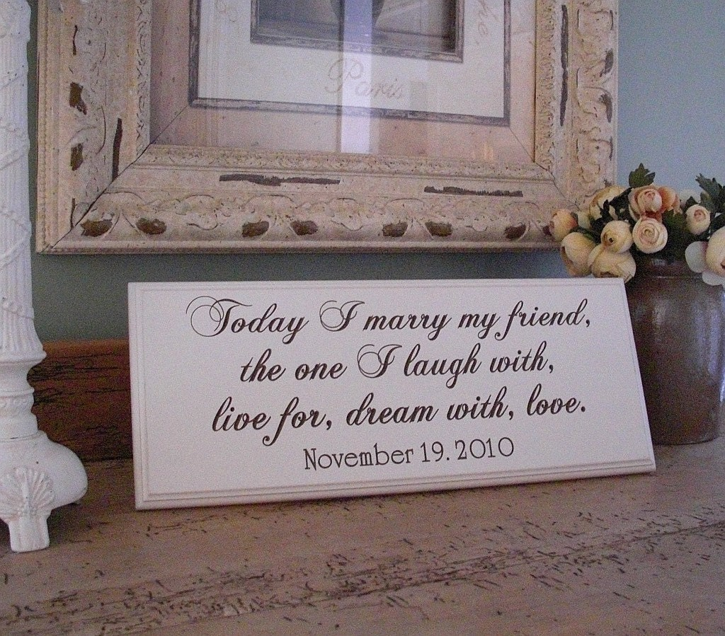 Wedding Vows Cut into Wood... Forever....8 x 20 Engraved Sign