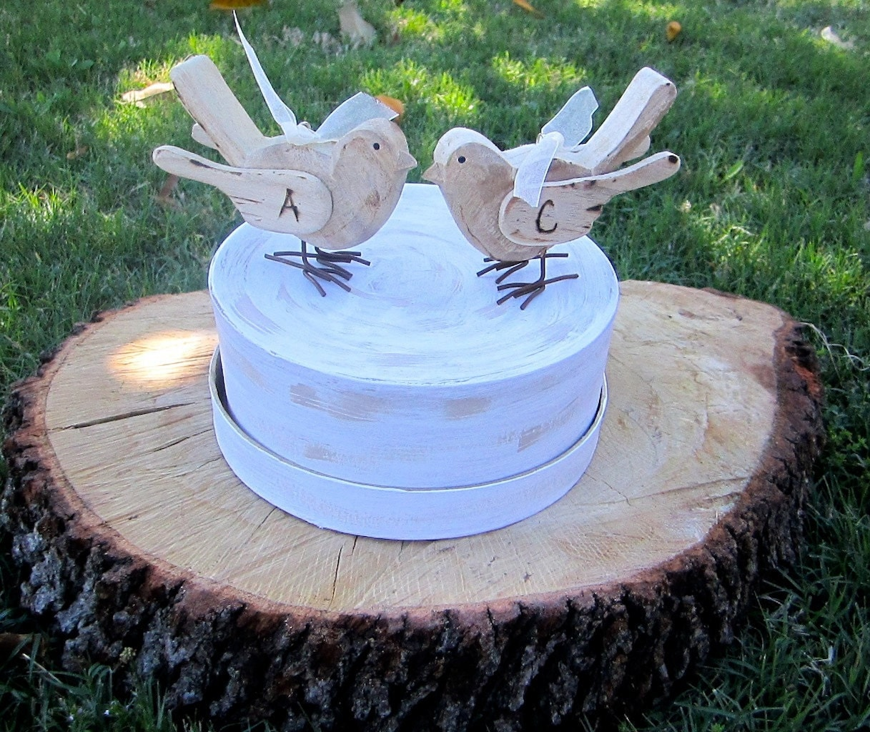 Two  Personalized Love Birds Wood Wedding Cake Toppers Vintage Antique Rustic Cake Decoration Shabby Chic