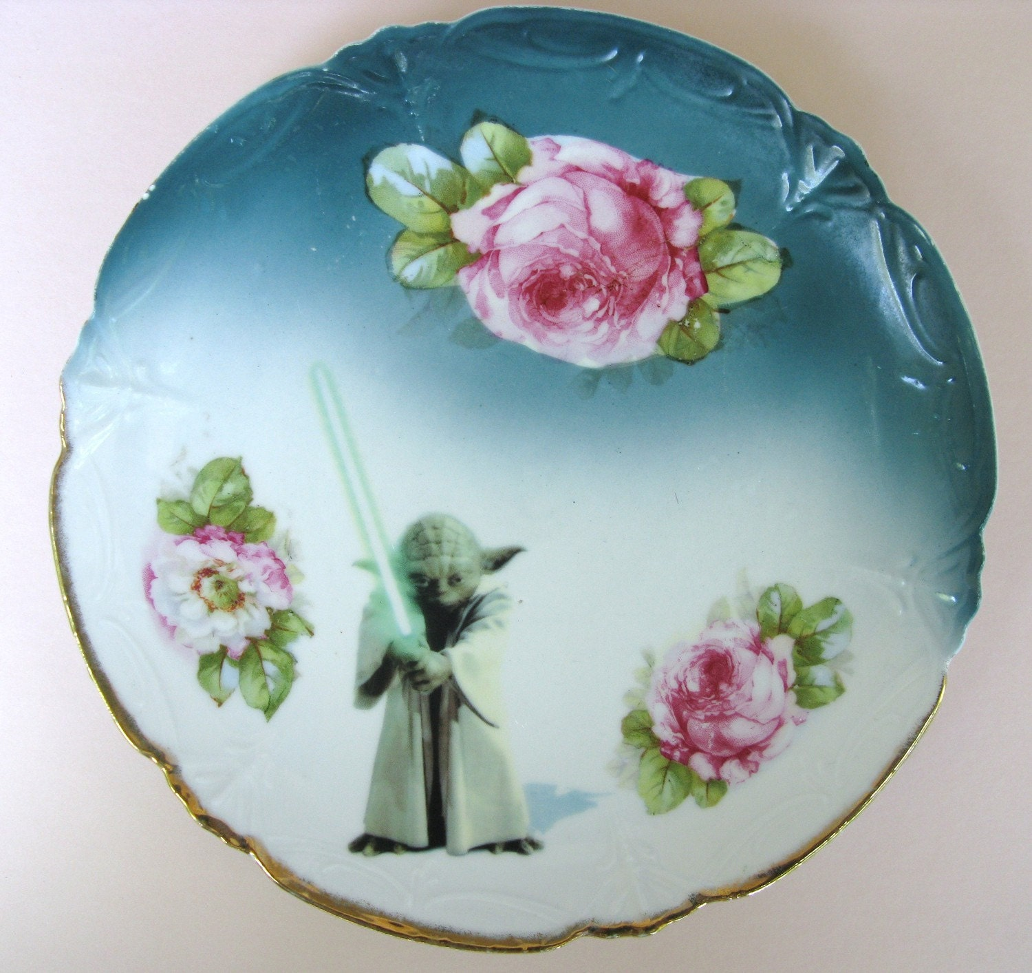 Yoda Portrait Plate - Altered Antique Plate