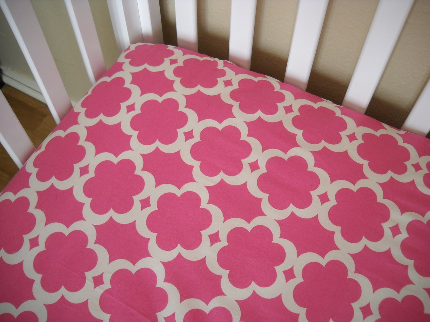 Custom Baby Crib Sheet - Taza Orange Pink Red - Toddler Bed Sheet - Design Your Own - You Choose the Fabric