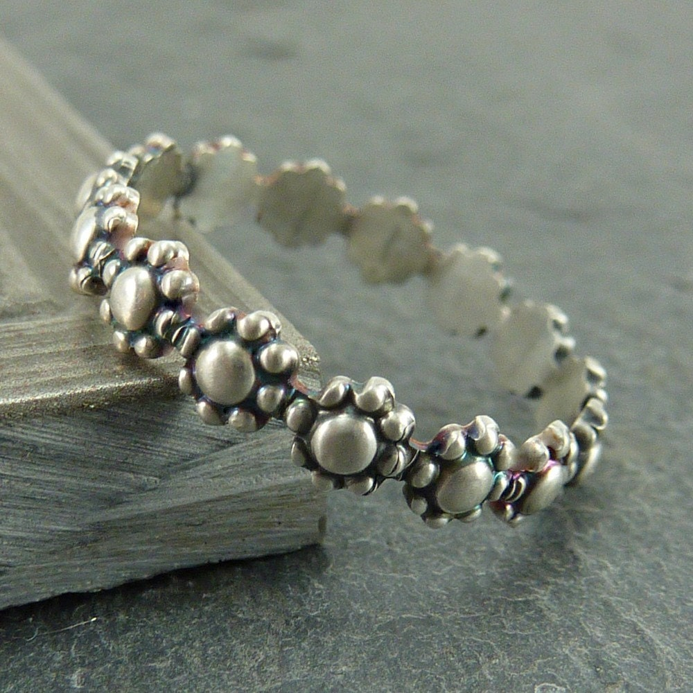 Stack Ring or Thumb Ring - Daisy Chain - Oxidized