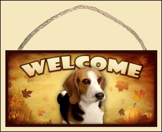 "Beagle Fall / Autumn Season 10"" x 5"" Wooden Welcome Sign"