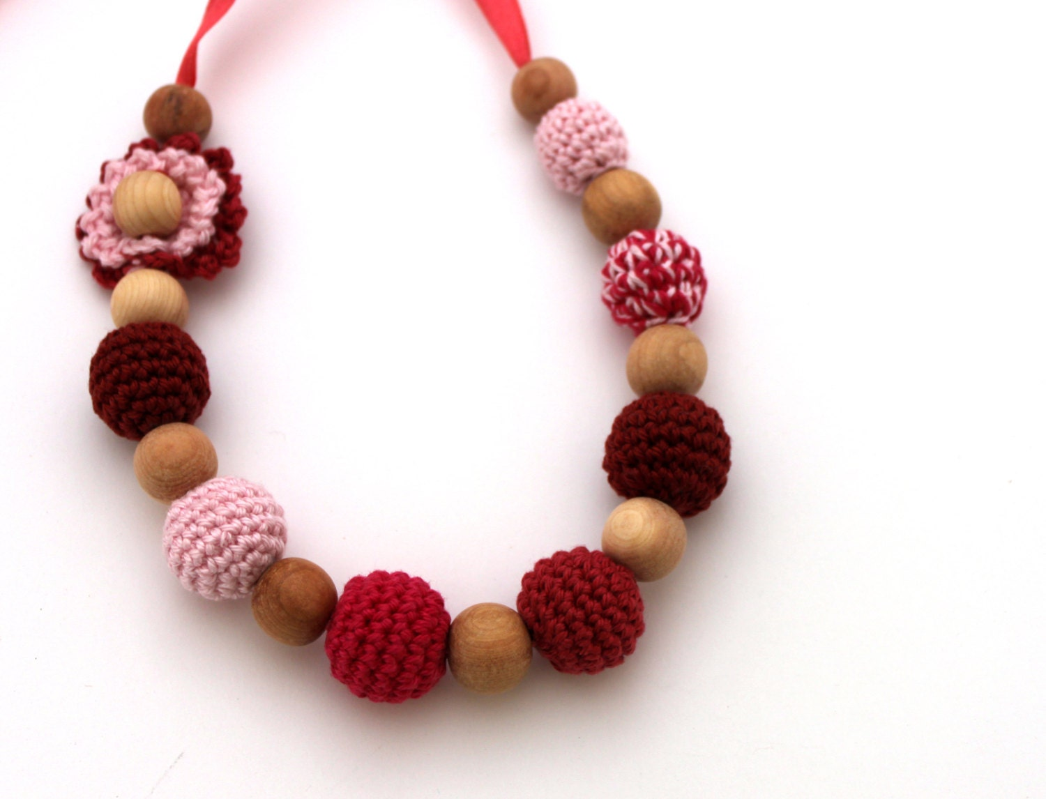 Items similar to crochet flower baby wearing necklace for When can babies wear jewelry