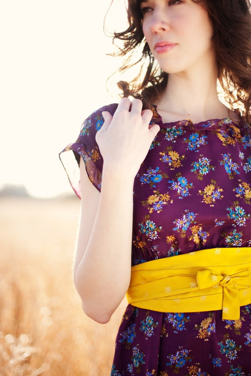 Custom Purple Floral Spring to Fall Dress with Gold Obi Belt