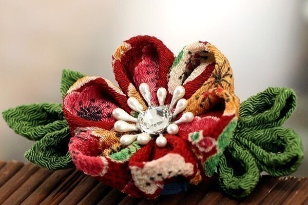 Plum Blossom - Kanzashi Flower Barrette Hair Clip