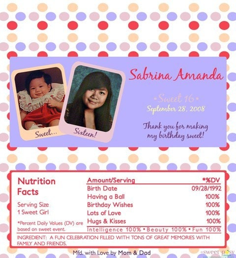 Personalized Photo Candy Bar Wrappers Birthday