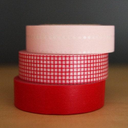 MASKING TAPE SWEET 3 SET - RED Grid 15mm