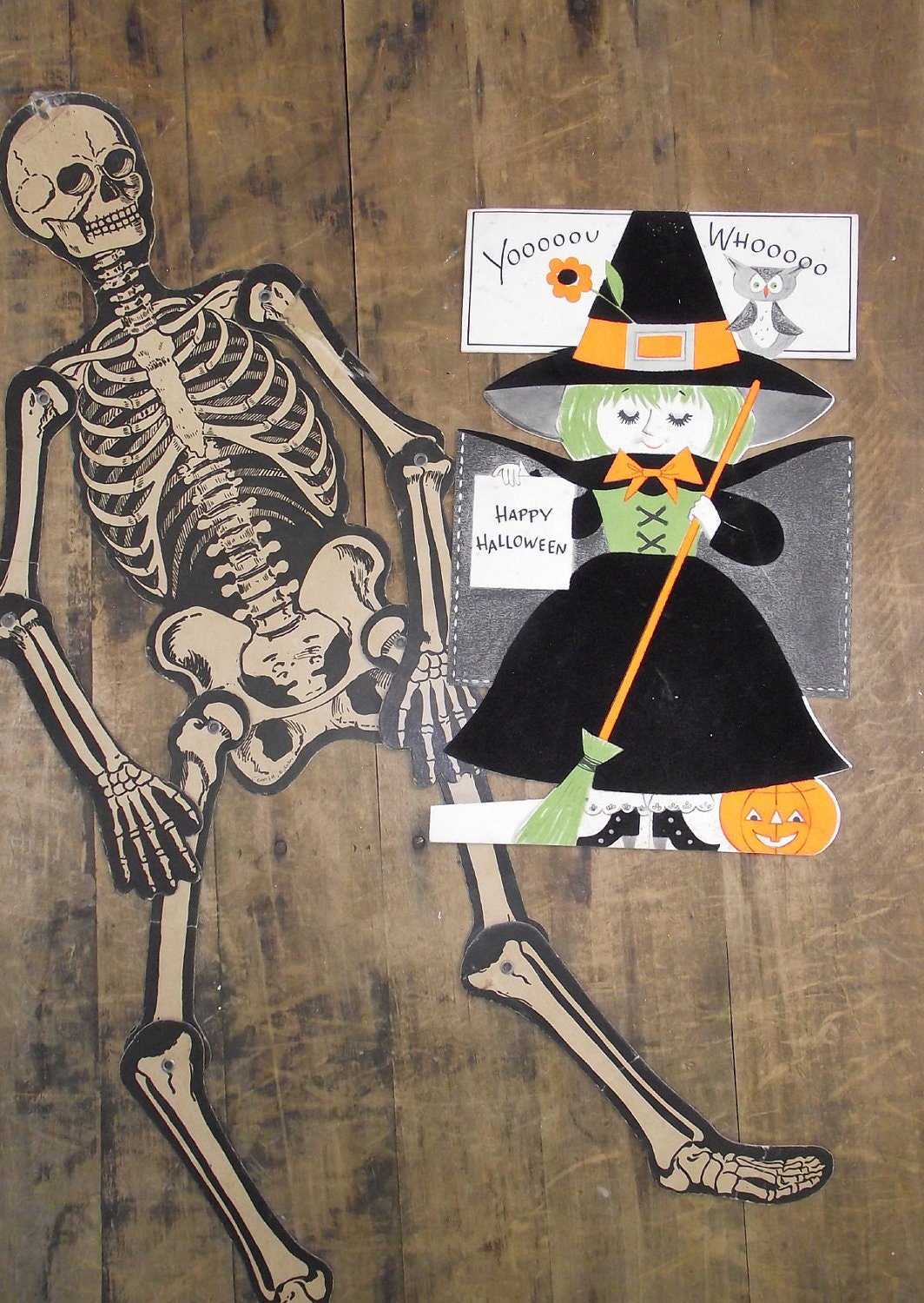 Vintage Jointed Paper Skeleton Halloween decoration by ...