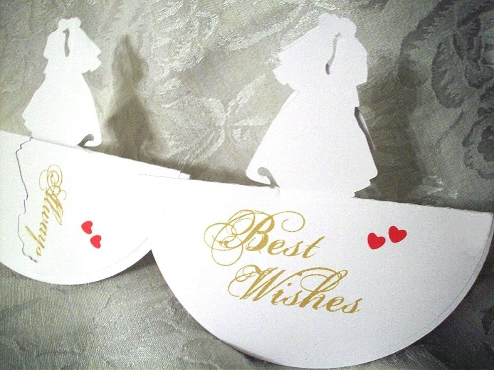 Wedding or Anniversary PLACE CARD PopUp Card BRIDE and GROOM 6 quantity