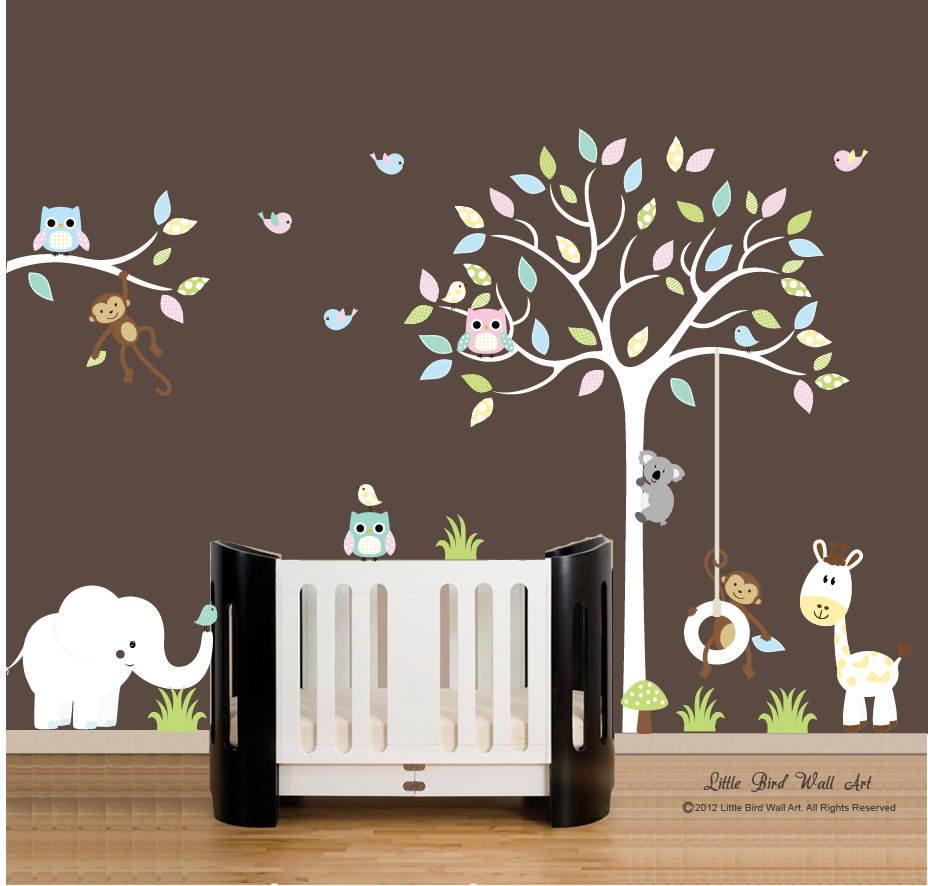 ... wall decals - nursery white tree wall decal vinyl decal tree wall