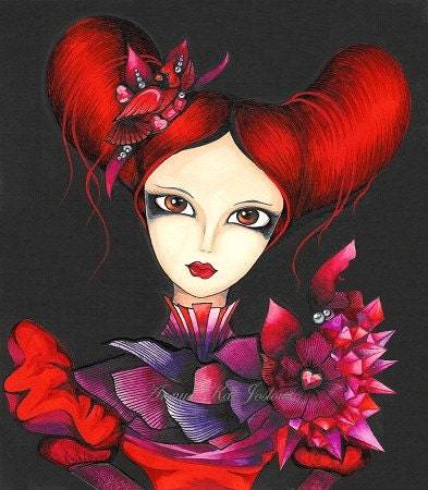 Queen of Hearts - Alice in Wonderland - Art Print