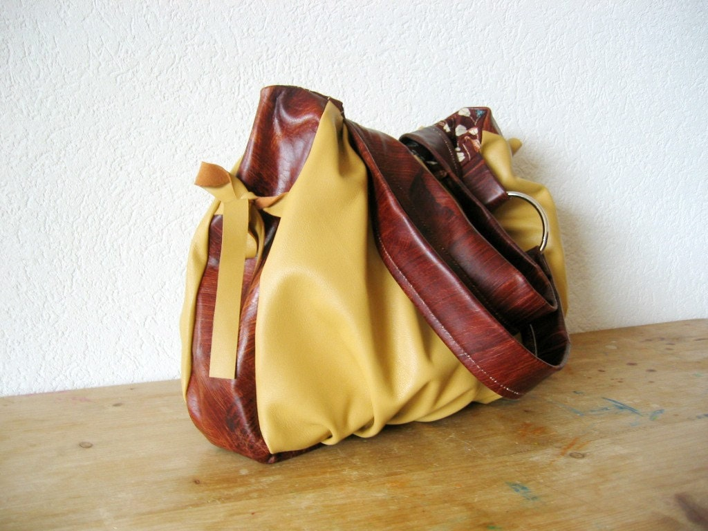 Pomegranate Leather Bag - Camel and Rustic Brown - NEW
