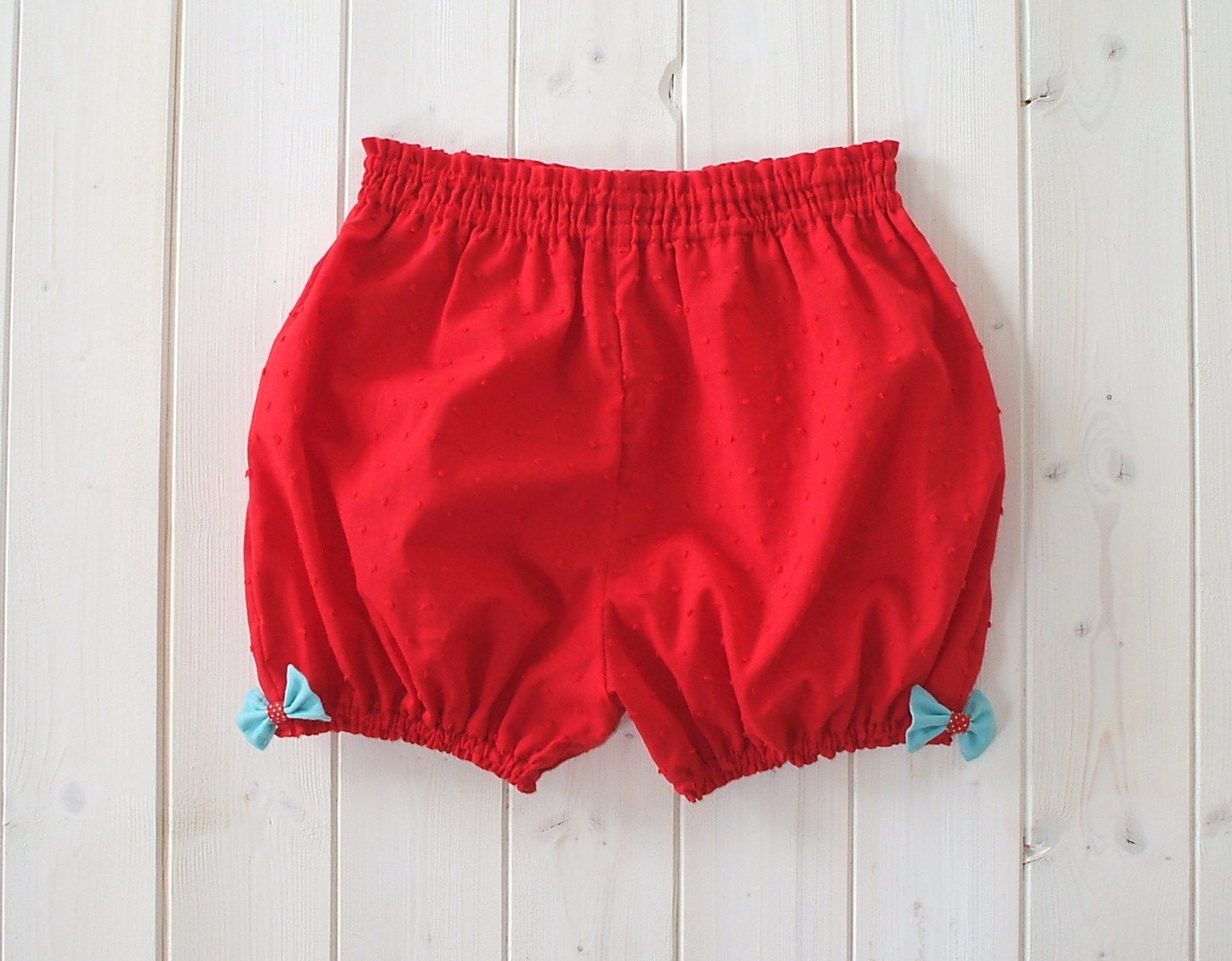 Red Bloomer Shorts With Aqua Blue Bows - Made To Order