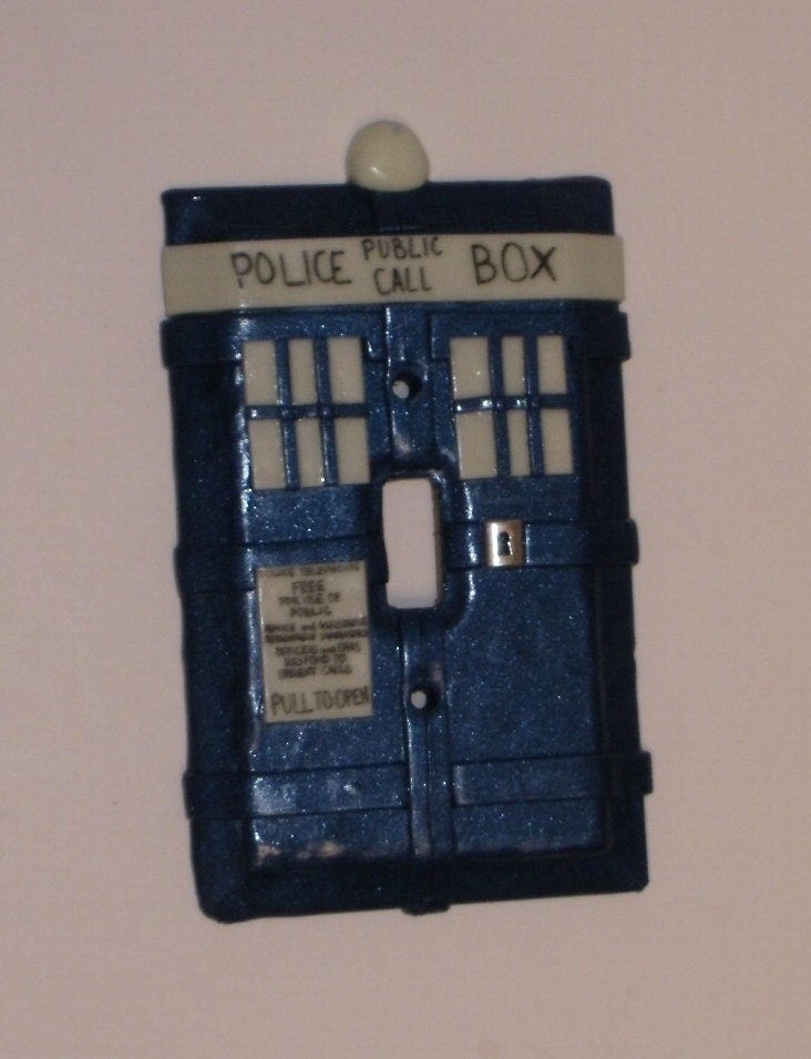 Police box light switch plate cover glows in by for Tardis light switch cover