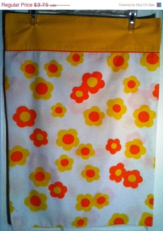 CIJ SALE Vintage Mod Floral Pillowcase in Yellow and Orange Standard Size - SewReallyCute