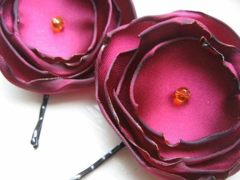 Ruby Satin Flower Hair Pins - FREE SHIPPING