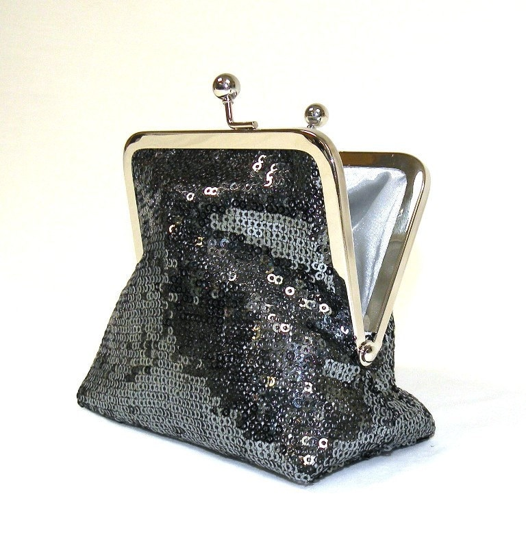 Formal Sequinned Palm Clutch in Gunmetal Grey with Nickel-Free Frame....Made to Order - bagsbystacey