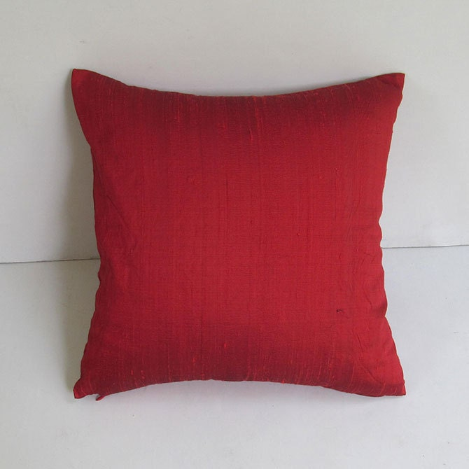 dark red silk pillow cover 18 inch throw by Comfyheavenpillows