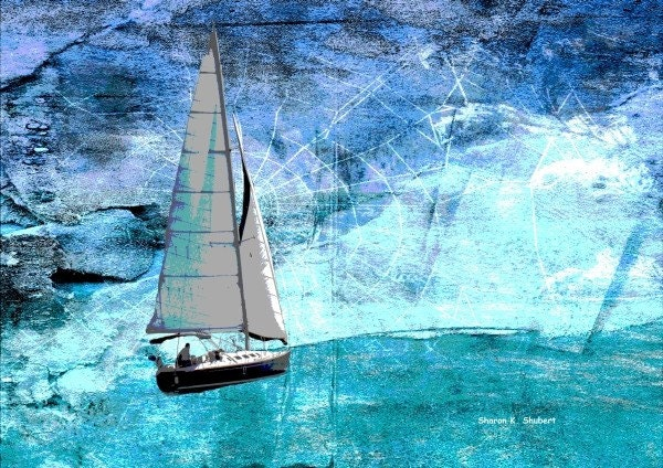 Sailing Abstract Blue Art 8 x 10 Giclee Print