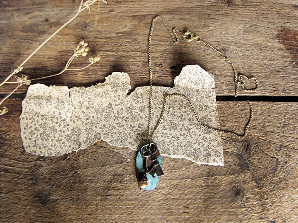 housekeeping - vintage skeleton key necklace - rustic assemblage - feminine primitive
