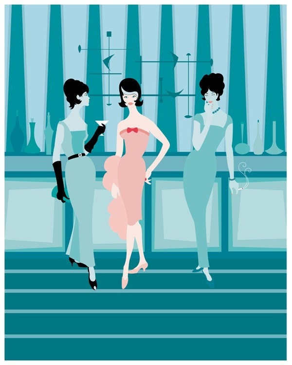 Cocktail Social - Modern Lounge Giclee Print by Kerry Beary - 8x10 - Mid Century