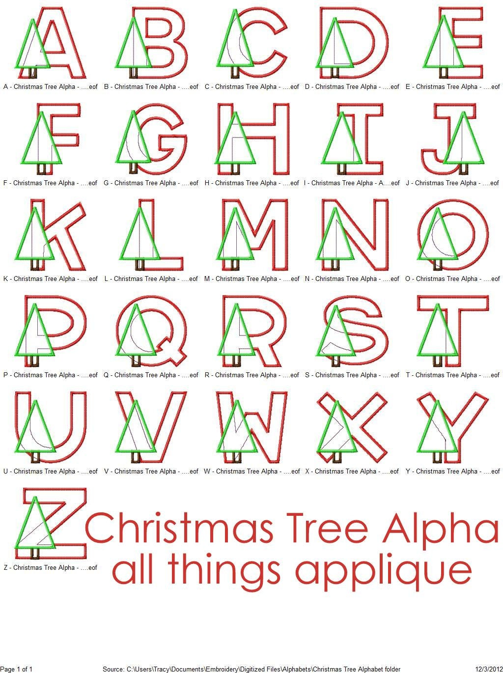 Items similar to christmas tree applqique alphabet designs for Christmas tree letters