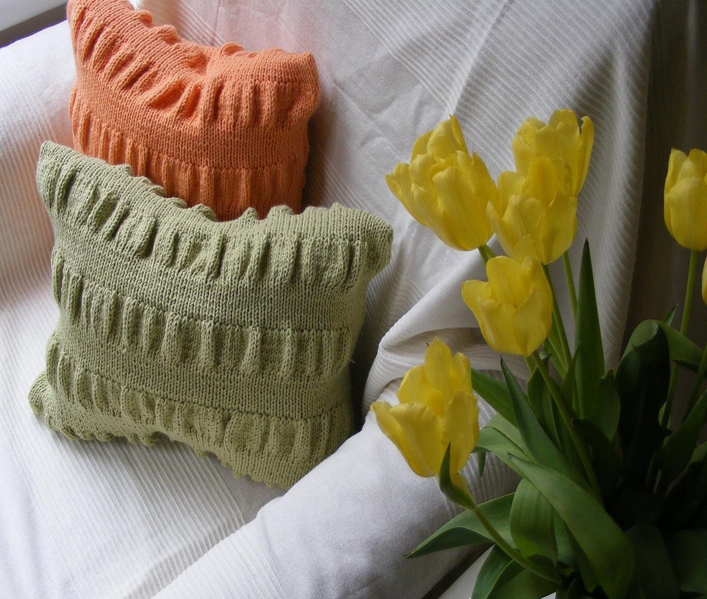 the handknitted ruched effect cushion (avocado)